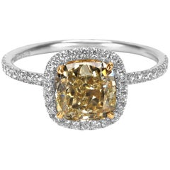 GIA Certified Fancy Yellow Cushion Cut Platinum Diamond Engagement Ring