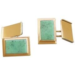 1930s German Art Deco Jade Green Hydrogrossular Garnet Gold Cufflinks Bauhaus