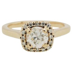 .50 Carat Round Diamond 14 Karat Rose Gold Diamond Halo Engagement Ring
