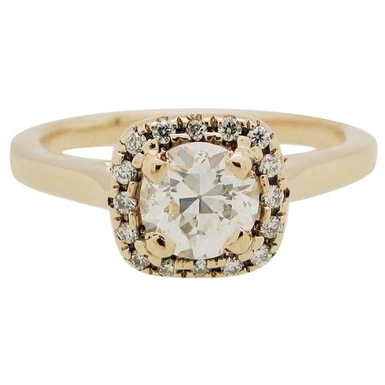.50 Carat Round Diamond 14 Karat Rose Gold Diamond Halo Engagement Ring