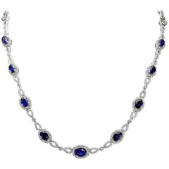 Oval Sapphire and Diamond Necklace 7.45 Carat