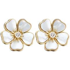 Van Cleef & Arpels Diamond Mother-of-Pearl Flower Earrings