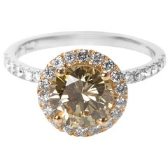GIA Certified Brownish Yellow Diamond Engagement Ring in 14KT Gold 2.08 Carat
