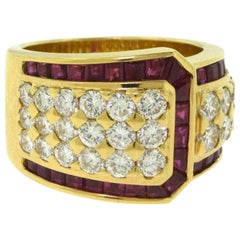 18 Karat Yellow Gold Estate Ruby and Diamond Wide Cocktail Ring