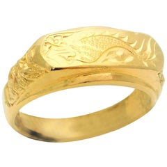 Vintage 23 Karat Gold Taiwanese Dragon Ring
