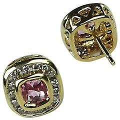 Pink Tourmaline, Diamond, Yellow Gold Stud Earrings
