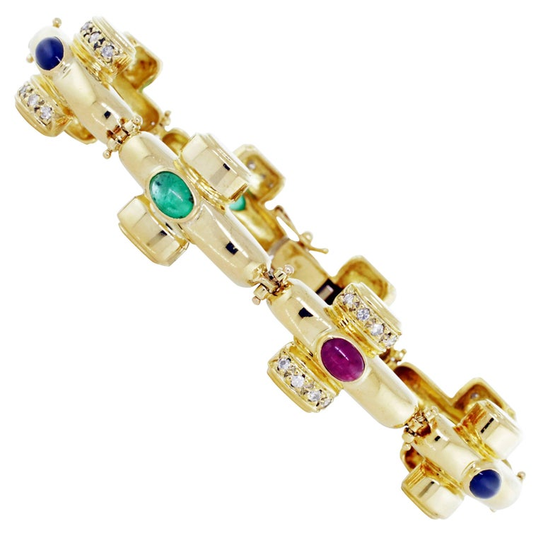 Yellow Gold Link Bracelet with Diamond Rubies and Emeralds