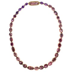 Antique Georgian Gold Pink Topaz Foil Back Riviere Necklace