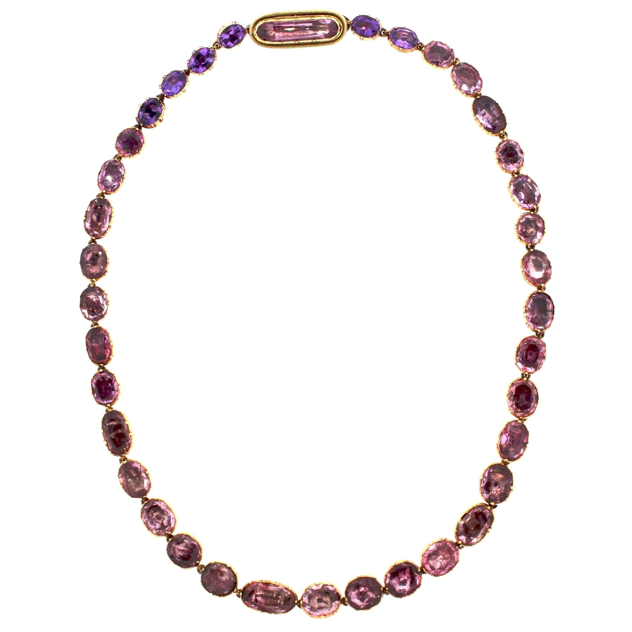 Antique Georgian Gold Pink Topaz Foil Back Riviere Necklace