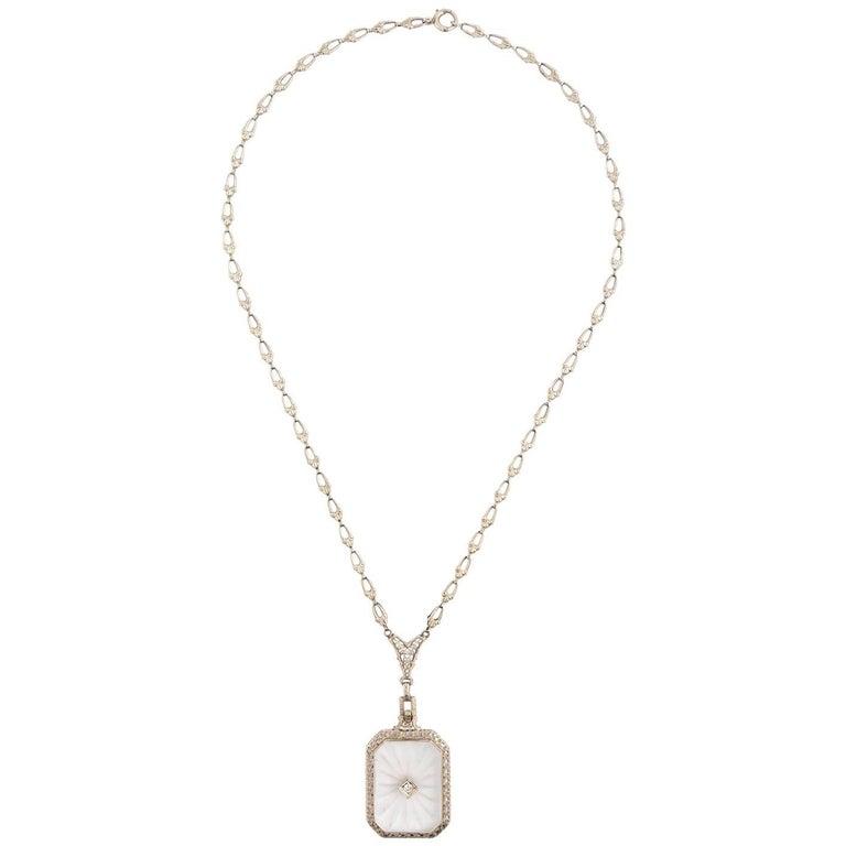 Art Deco 14 Karat White Gold Filigree Rock Crystal Diamond Necklace