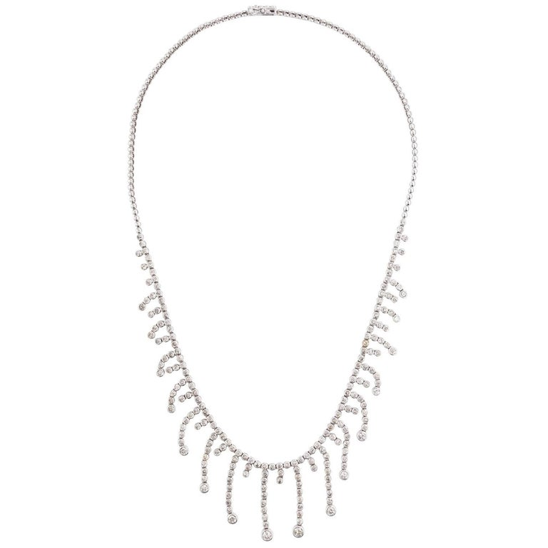 14 Karat White Gold Diamond Bib Fringe Necklace 5.7-7.1 Carat Diamonds For Sale