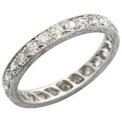 Vintage Old European Diamond in Platinum Eternity Band 3.00 Carat