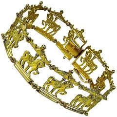 Gold Bracelet of Carousel Horses