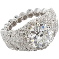 2.59 Carat F VVS2 Old European Diamond in Platinum Deco Style Ring GIA