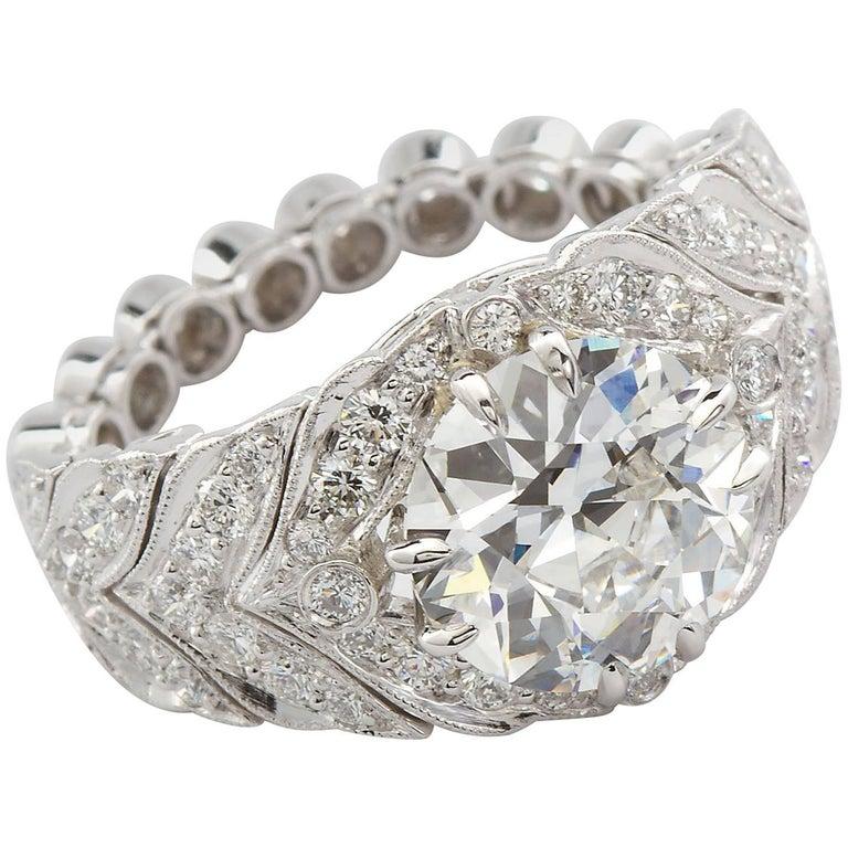 2.59 Carat F VVS2 Old European Diamond in Platinum Deco Style Ring GIA For Sale