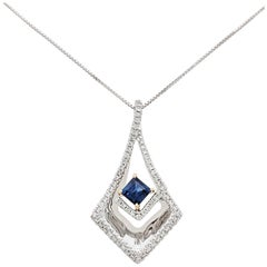 14 Karat Two-Tone Diamond and Sapphire Pendant Necklace