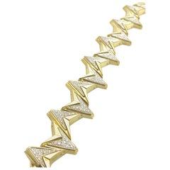 Retro Diamond and Yellow and White Gold Geometric Bracelet