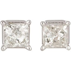 Ladies 14 Karat White Gold and Princess Cut Diamond Stud Earrings 1.20 Carat