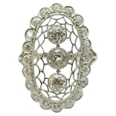 Art Deco Bezel Set Old European Cut Diamond Platinum Ring