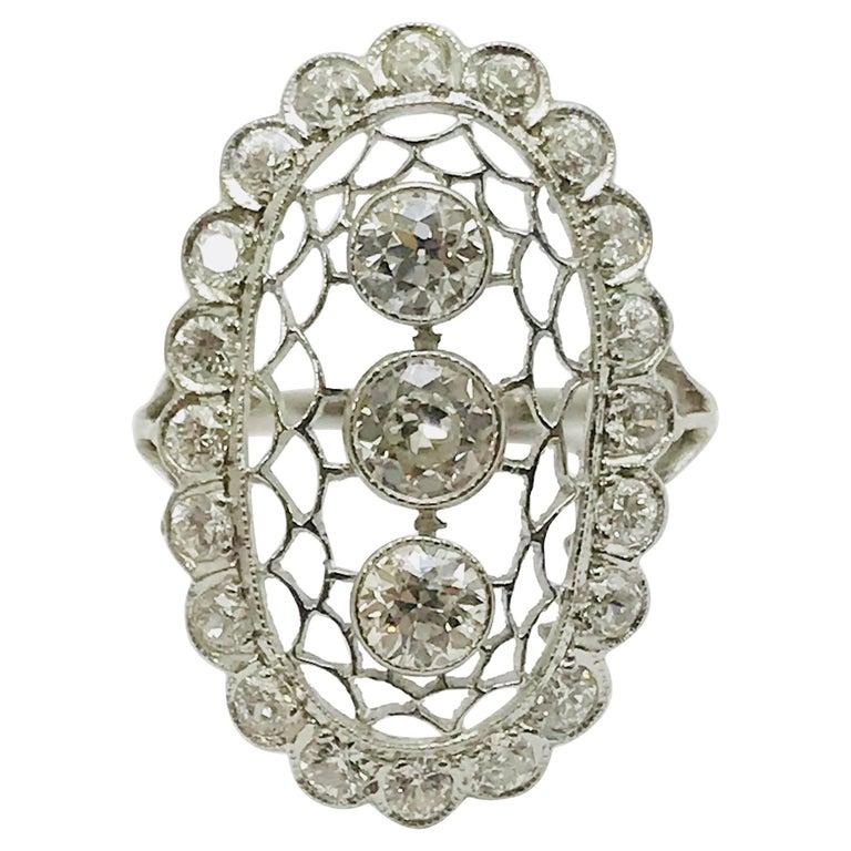 Art Deco Bezel Set Old European Cut Diamond Platinum Ring