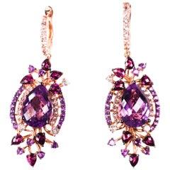 Le Vian Multi-Stone Drop Earrings in 14 Karat Strawberry Rose Gold