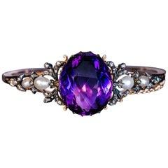 Antique 19th Century Amethyst Pearl Diamond Bangle Bracelet