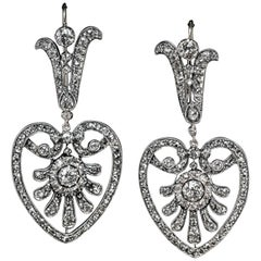 Belle Epoque Antique Heart Motif Diamond Dangle Earrings