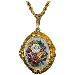 Large Antique Italian Micro Mosaic Gold Locket Necklace