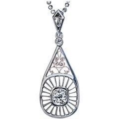 Midcentury Russian Diamond Gold Platinum Pendant