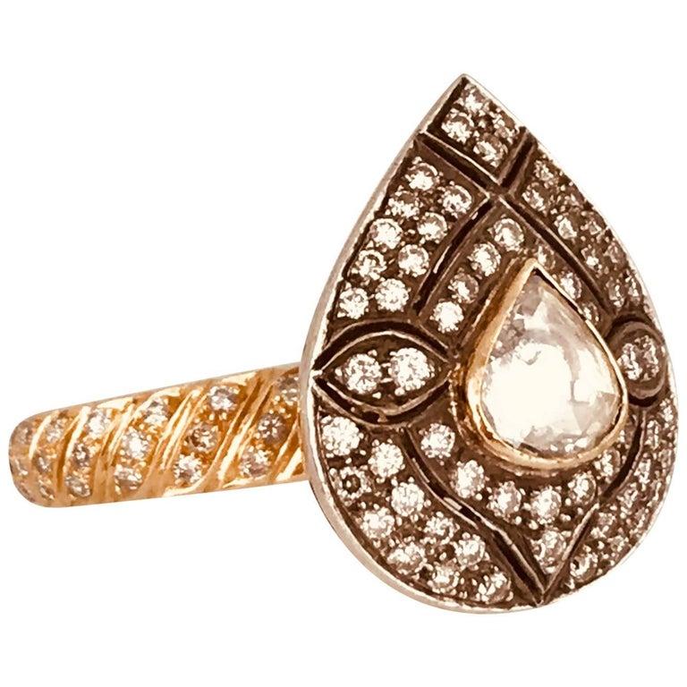 Art Deco, Pear-Shaped Diamond Eternity Ring, Spread Table Cut, circa 1930 Ring