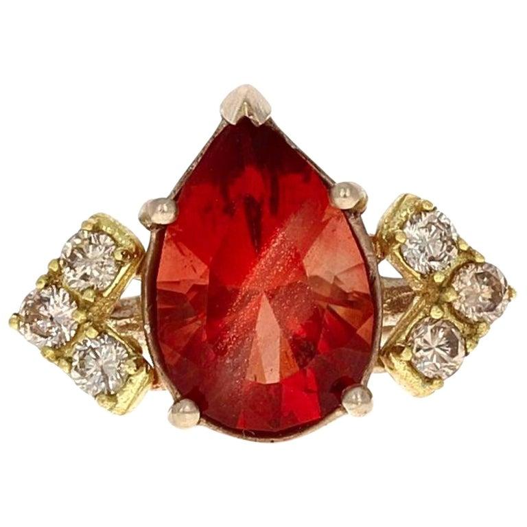 Audree Oregon Sunstone and Cognac Diamond Ring For Sale