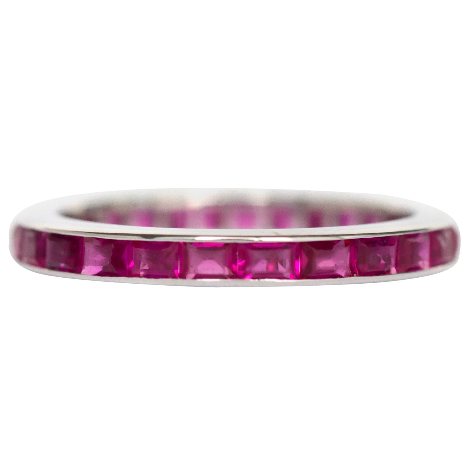 1950s 1.00 Carat, Total Weight Ruby & 14K White Gold Wedding Band