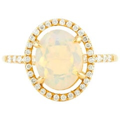 Aurora 18 Karat Yellow Gold Welo Opal and Natural Pave Diamond Ring