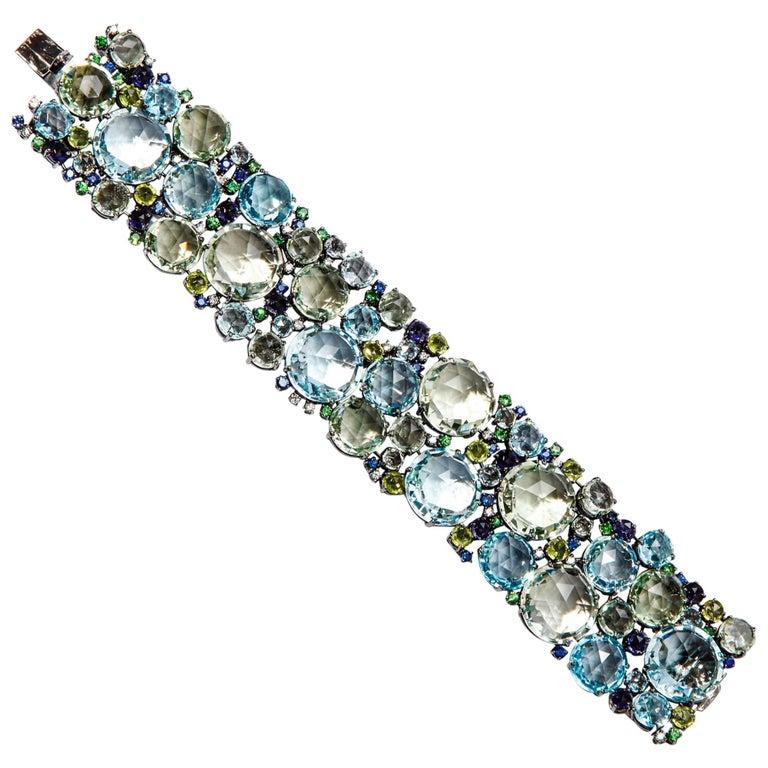 A & Furst Bracelet 18 Karat Black Gold Diamonds Mixed Stones Bouquet Collection