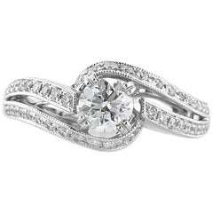 Mark Broumand 1.07 Carat Round Brilliant Cut Diamond Engagement Ring