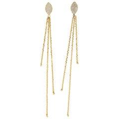 Clarissa 18 Karat Yellow Gold Natural Pave VS+ Diamond Earrings