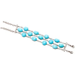 A & Furst Three-Row Bracelet 82.50 Carat Turquoise and 2.19 Carat Diamonds