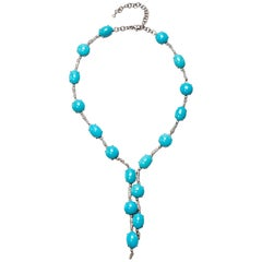 A & Furst Drop Necklace 98.50 Carat Turquoise and 1.63 Carat Diamonds