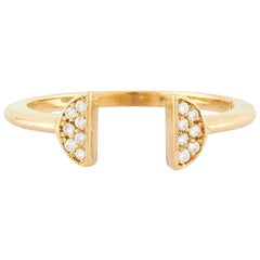 Halo Crown 18 Karat Yellow Gold Natural Pave Diamond Ring