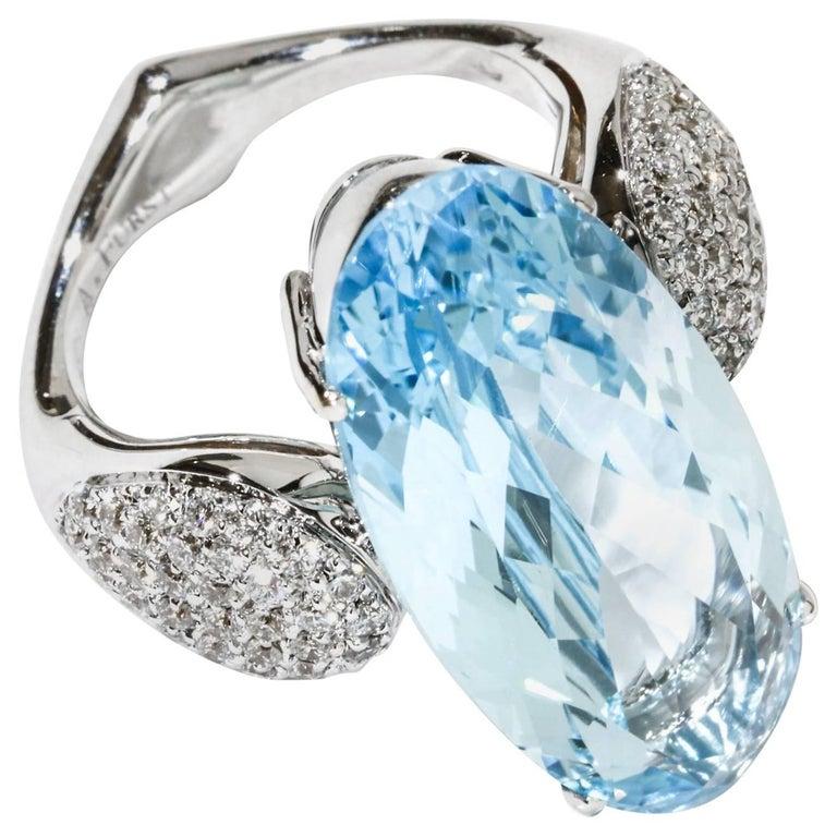 A & Furst Fleur-de-Lys Cocktail Ring Blue Topaz Diamonds 18 Karat White Gold