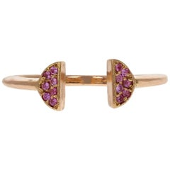 Halo Crown 18 Karat Rose Gold Pink Sapphire Ring