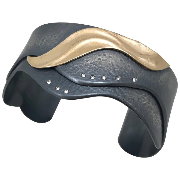 Medi Shoreline Cuff with 14 Karat Yellow Gold and Oxidized Sterling Silver