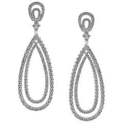 Mark Broumand 5.35 Carat Round Brilliant Cut Diamond Teardrop Earrings