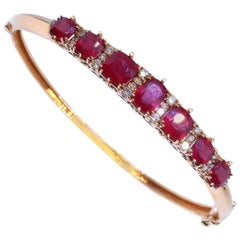 Ruby Diamond Rose Gold 18 Carat Oval Hinged Bangle