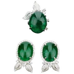 Emerald Cabochon and Diamond Floral Ring and Earring Suite