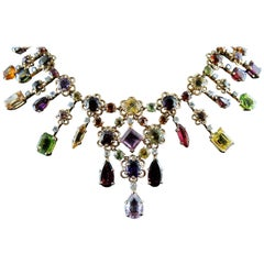 Vintage Colored Stones and Gold French Necklace, circa 1950