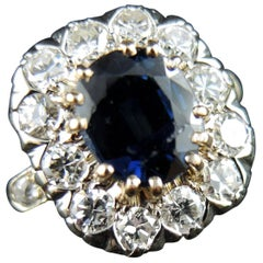 French Gold Engagement Cluster Ring with Sapphire and Diamonds, circa 1980