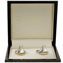 Solid 9 Karat White Gold Sailboat Cufflinks