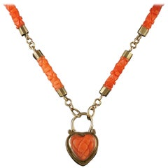 Antique Georgian Coral Necklace 18 Carat Gold Heart Locket, circa 1780