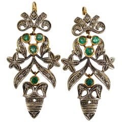 Art Nouveau 1.60 Carat Emerald Diamond Gold Drop Earrings